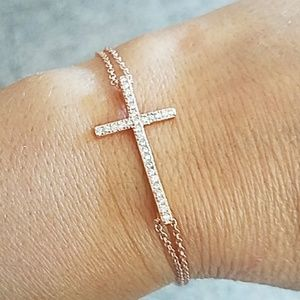"Jewelry - Rose Gold Cross Bracelet 7"" to 8"" size"
